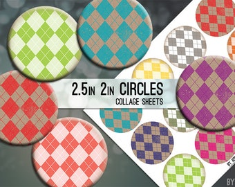 2.5in and 2 Inch Circle Digital Collage Sheet Geometric Argyle Colorful Kraft Download Printable Images for Gift Tags Cards Scrapbooking JPG