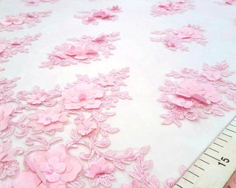 Pink embroidered lace fabric #1927