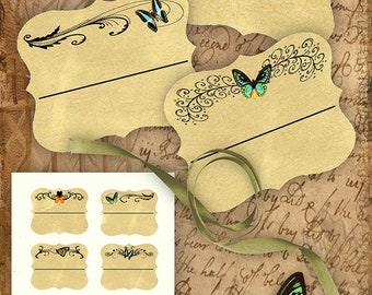 Flourish and Butterflies Bookplates/Labels Printable Stationary Crafts Scrapbooking Butterflies Original photographs Instant download