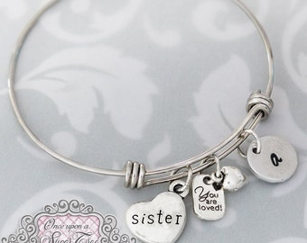 Sister Bracelet, Personalized BANGLE Bracelet, Sister Birthday Gift, Letter Hand Stamped Bracelet, You are Loved Charm, Initial Bracelet