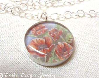 August Birth Flower Necklace Sterling Silver Poppy Necklace with Meaning card