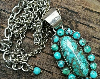 Turquoise Sterling Silver Cluster Necklace