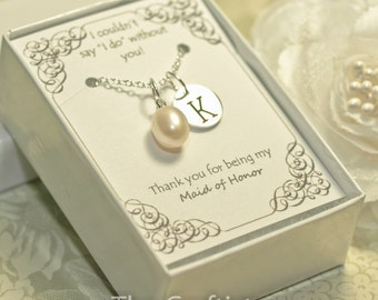 Personalized Maid of Honor Necklace - M2 - Maid of Honor Pearl Necklace - Matron of Honor Gift - Authentic Solitaire Pearl Pendant