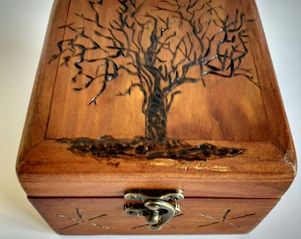 Recycled wooden box with heat-etched pallet