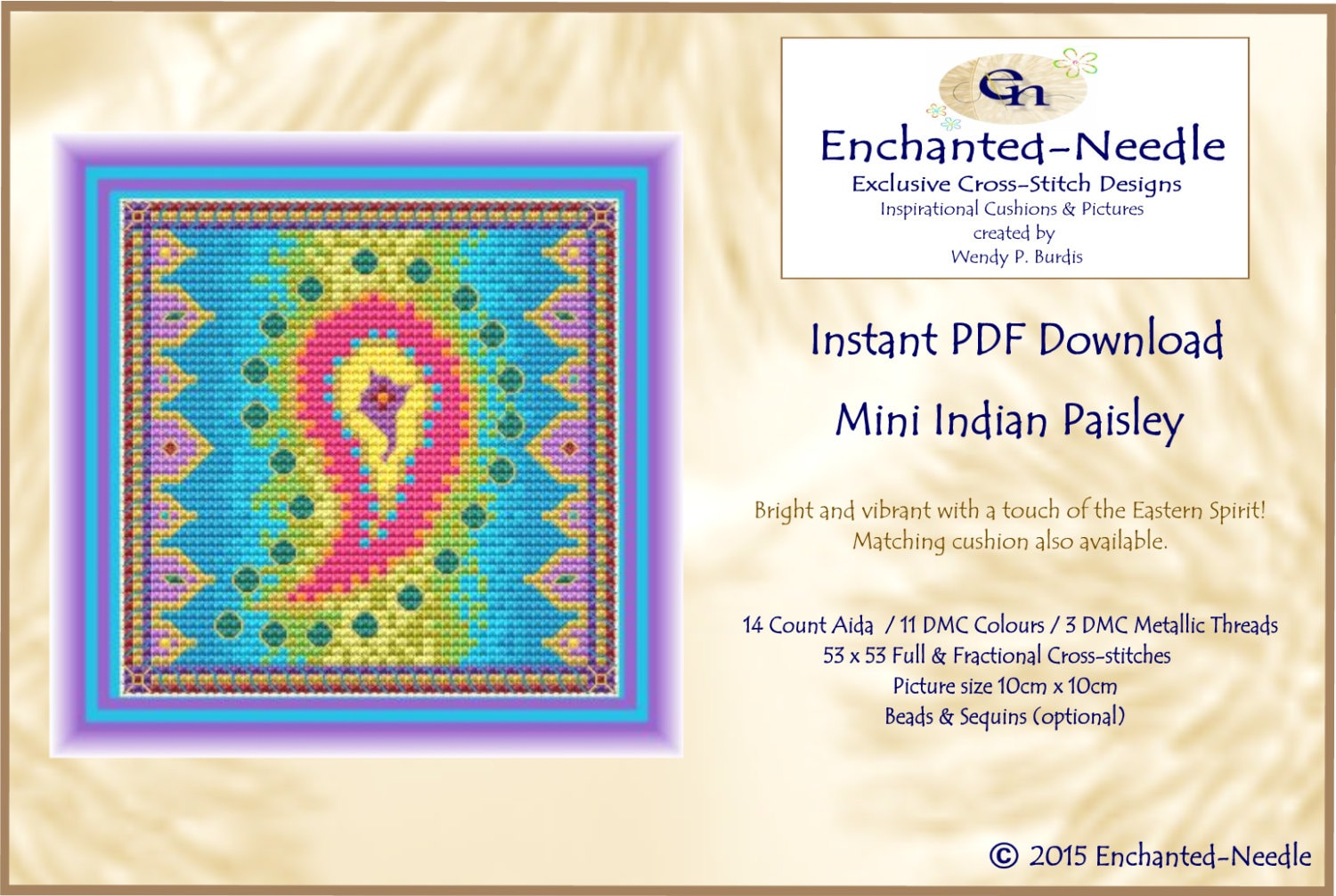 Indian paisley cross stitch colour pdf dmc chart cross zoom geenschuldenfo Images