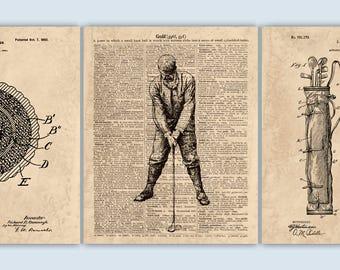 Golf Art, Golf Poster, Golf Print, Golf Decor, Gift for Golfer, Golfer Print, Sports Print, Set of 3 Prints, SKUG16