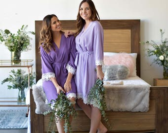 Bridesmaid Robes | Bridesmaid Gifts | Bridal Party gift | Getting Ready Robe | Cotton Lace Robes | Wedding Robe | Bridal Party Robe