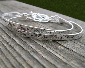 Custom Stamped Sterling Silver Phrase Bracelet Clasp Cuff - Adjustable - Your Own Message and Font - Hand Stamped Inside or Outside