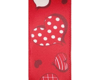 """1.5"""" Wired Red Valentines Day Ribbon, 10 Yards"""