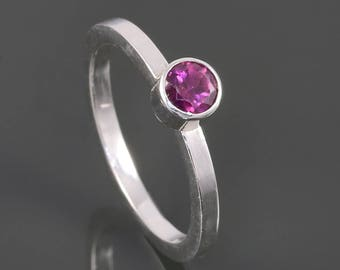 Rhodolite Garnet Stacking Ring. Sterling Silver. January Birthstone. Genuine Gemstone. Ready to Ship. Size 4.25 s17r007