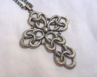 Vintage silver tone TODAY CROSS pendant necklace Sarah Coventry