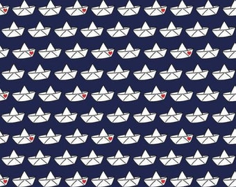 Dark blue tricot fabric with paper boats and hearts