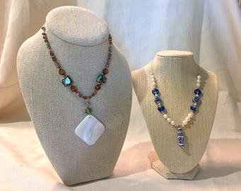 Handmade Jewelry Necklace Duo:Brown, blue and white statement necklace, On Sale!