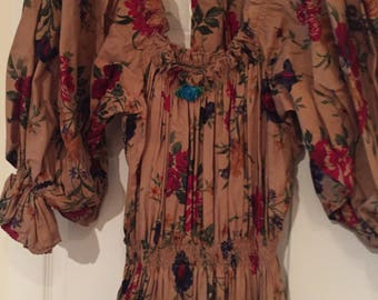 Party Time: Vintage 80s Floral print Tiered Full Skirt Elastic Waist & Neck Puff Sleeve Dress