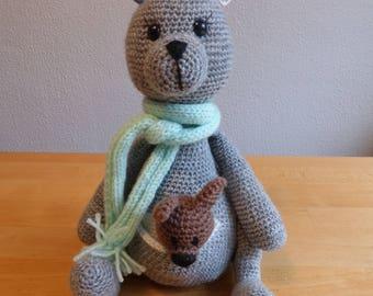 Kangaroo with baby - stuffed animal - crocheted
