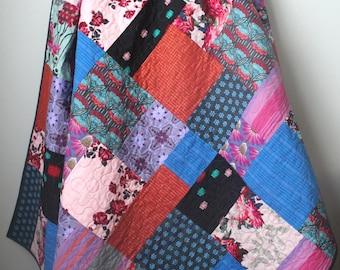 Modern Lap Quilt-Bohemian Quilt-Anna Maria Horner Quilt-Floral Retrospective-Modern Throw Quilt-Boho Quilt-Homemade Quilt-Bohemian Decor