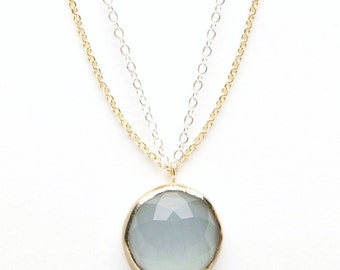 Faceted Aquamarine Pendant Necklace with Silver and 14k Gold