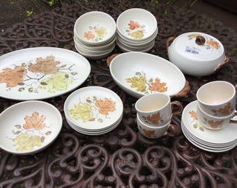 Mid Century Vernon Kilns/Metlox Poppy Trail-Woodland Gold Dinnerware Set-Fall Leaves