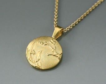 Solid gold round pendant, gold  landscape necklace, gold medallion necklace, landscape jewelry, bird jewelry, unique necklace, handmade