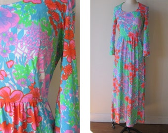 60's Psychedelic Maxi dress /neon flower power floral dress by Keram of New York size small