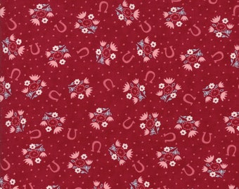Howdy Horseshoe Dreams Burgundy from Howdy Collection by Stacy Iest Hsu for Moda Fabrics