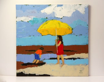 On the beach 5, Knife painting, Seascape painting, original acrylic painting, small painting