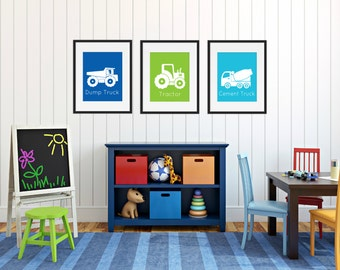 Construction Truck Prints - Dump Truck Wall Art - Boys Room Wall Art - Construction Decor - Childrens Room - Playroom Wall Art - Set of 3