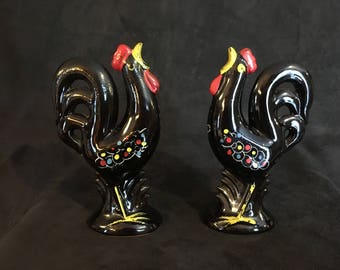 Black Rooster Figurine Salt and Pepper Shakers
