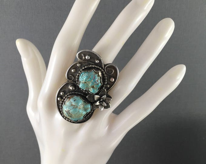 Featured listing image: Turquoise nugget statement ring natural Sierra Nevada turquoise nuggets Boho