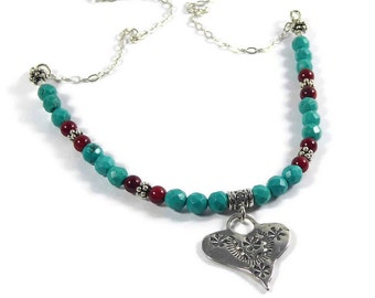Sterling Silver Heart Turquoise Necklace, Southwestern Heart Pendant Necklace, Turquoise Coral Necklace, Turquoise Pendant Necklace