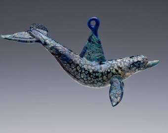 Hanging Glass Dolphin Ornament, Marine Life Lampwork Sculpture, Sea and Ocean Life Porpoise