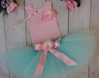 Aqua and Pink Tutu Dress | Baby Girls 1st Birthday Outfit