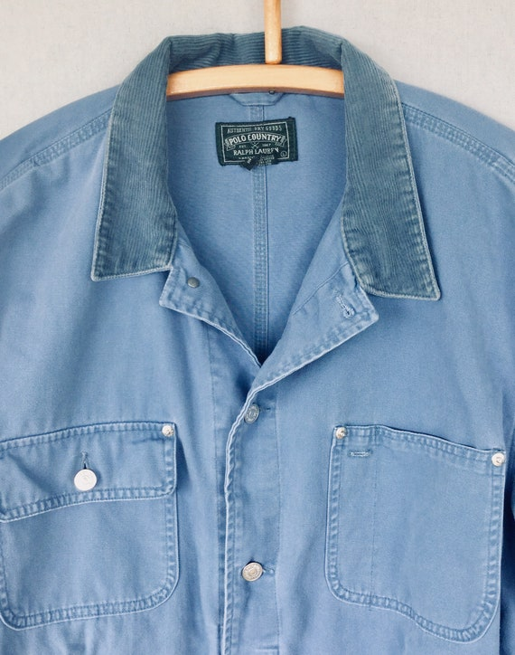Polo in Blue Jacket Vintage Cotton Collar Lauren Corduroy Made Ralph USA French 90s Country Dungarees with Canvas w0Ftqg