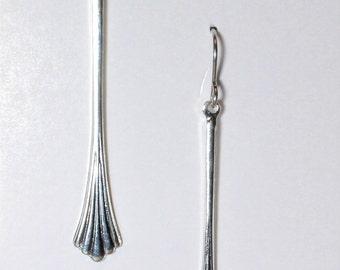 Silver plated Art Nuevo drop earrings on hypoallergenic surgical steel ear wires