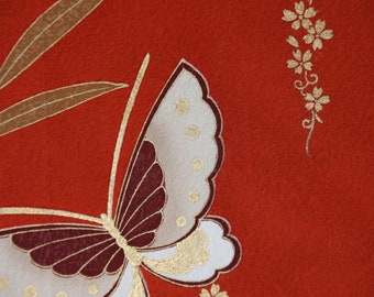 Butterfly kimono fabric/ Red brown / Vintage Japanese silk fabric