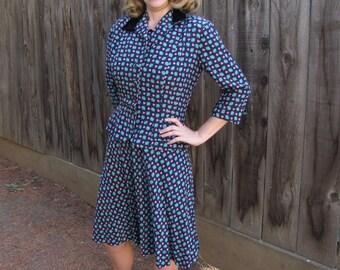 Vintage ~ 1940 ~ Midnight Blue Dress ~ Matching Jacket ~ Tiny Pink Butterflies ~ Rayon ~ Livingston Bros. San Francisco ~ Medium
