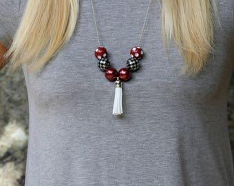 Game Day Necklace/University of Alabama Necklace/Alabama Jewelry/Houndstooth/Roll Tide/University of Alabama Jewelry