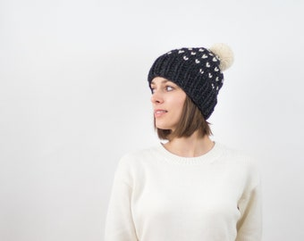 Fair Isle Knit Pom-Pom Hat, Wool Blend | THE INVERNESS in Charcoal + Snow