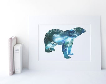 Polar Bear Art Print - Abstract Watercolour Painting - Wall Decor for the Home