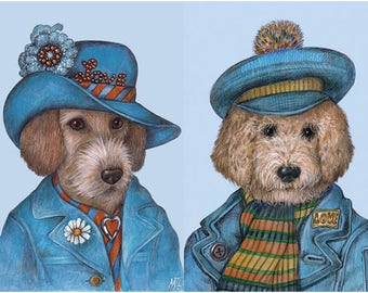 Dogs in Denim - 2 Art Prints - Dachshund and Goldendoodle - LOVE Collection - Funny Pet Portraits by Maria Pishvanova