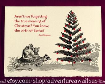 Greeting Card - Birth of Santa - Victorian illustration Christmas Yule Solstice winter snarky humor funny creature supernatural Bart Simpson