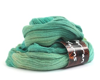 Green yak lace yarn, handdyed laceweight 100% pure yak knitting crochet hank, Perran Yarns Woodland Glade, emerald green turquoise blue, uk