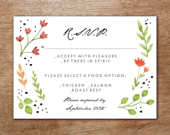 Printable RSVPCard - Watercolor Flowers - Response Card - Wedding Response Card Printable - Hand Painted Flowers RSVP Template - PDF