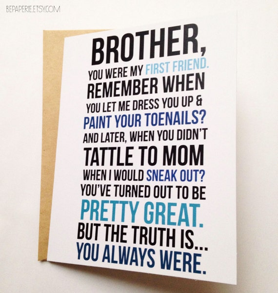 Brother card brother birthday card funny card card for like this item bookmarktalkfo Images