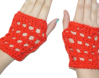 Crochet Wristwarmers, Kids Mittens, Orange Gloves, Kids Gloves, Girls Mitts, Orange Mitts, Kids Fingerless Gloves, Kids Orange Gloves