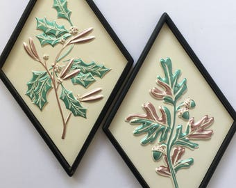 Mid Century Art Holiday Decorating Metallic Mint and Pink Diamond Shaped Pair Pastel Christmas  Foliage Oak and Holly
