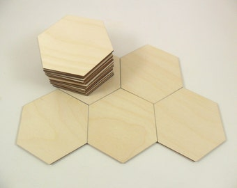 """Wood Hexagons 3 1/8"""" (79.375mm) Unfinished Wood Tiles Cutouts Game Pieces Shapes - 25 Pieces"""
