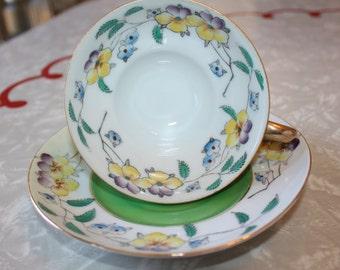 Elegant Green Floral Tea Cup and Saucer, Merit, Occupied Japan, Vintage 2-Piece Set