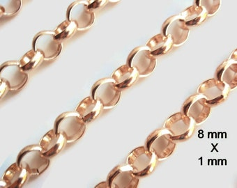 10 Ft Large Cross Chain (8 mm X 1 mm), Rose Gold, Jewelry making & Craft supply, Closed welded Iron Links,