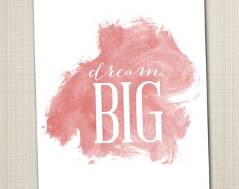 dream big printable 8x10 children's art print